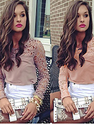 Women's Round Lace Tops & Blouses , Chiffon/Lace Casual/Lace/Work Long Sleeve Phylomeya