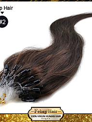 """22 """"dunkelbraun (# 2) 50 g 100s Mikroschleifen remy Menschenhaarverlängerungen"""