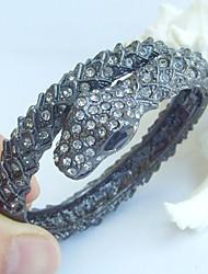 Unique Snake Bracelet Bangle With Gray Rhinestone Crystals