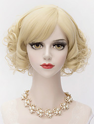 Elegant Short Kinky Curly Side Bang Hair Light Golden Synthetic Charming Women Wig