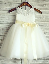 Princess Ivory Knee-length Flower Girl Dress - Lace/Tulle Sleeveless