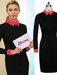 Women's Round Dresses , Cotton Blend/Knitwear/Rayon Sexy/Casual/Work Long Sleeve Phylomeya