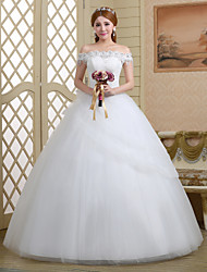 Ball Gown Wedding Dress - White Floor-length Off-the-shoulder Tulle