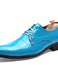Sapatos Masculinos Oxfords Preto / Azul / Vermelho Couro Envernizado Casual