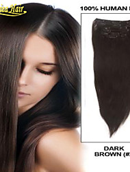 New Fashionable Human Clip In On Hair Extensions Natural Virgin Indian Hairs Remy Human Hair Straight Weave 100g set