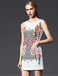 2015 Ladies Fashion Models Fall Flowers Round Neck Sleeveless Printed Key Elegant White Summer Dress Double Pocket
