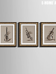 E-HOME® Framed Canvas Art,Musical Instruments Framed Canvas Print Set of  3