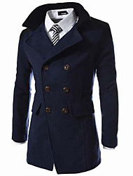Men's Long Sleeve Long Trench coat , Polyester / Wool Blend Pure