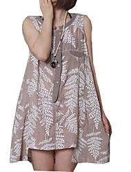 Vestidos ( Algodão/Seda ) MULHERES - Casual/Estampado Redondo - Sem Mangas