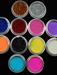 36PCS  Mixed Colors Small Delicate Nail Art Glitter Powder Nail Art Foil Strip Powder Arylic Powder for Nail Decorations