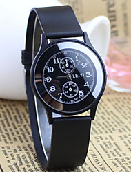reloj de los hombres estilo simple esfera redonda de caucho negro cuarzo banda