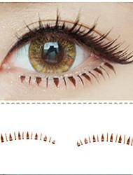 10PCS Natural Handmade Black Lengthening Fiber False Eyelashes