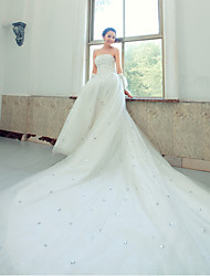 Ball Gown Wedding Dress Chapel Train Strapless Lace with