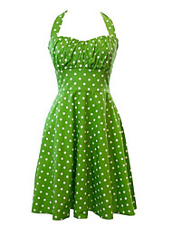 Women's Retro 50s Slim Polka Dot Sleeveless Swing Party Dress