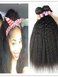 3Pcs/Lot Unprocessed Mongolian Kinky Straight Hair 100% Human Virgin Hair Extensions Kinky Straight Weave DHL Free