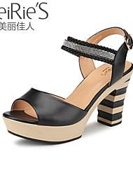 Women's Summer Heels / Open Toe Patent Leather Office & Career / Casual Chunky Heel Rhinestone Black / Green