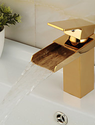 Modern Gold Brass Waterfall Hot and Cold Bathroom Faucet