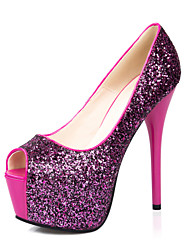 Women's Shoes Glitter Stiletto Heel Heels/Peep Toe/Platform Pumps/Heels Dress Black/Blue/Red