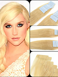 613# Light Blonde Tape In Indian Human Hair Glue In Hair Extensions 4cm Full Head Beauty Skin Weft 2.5g/pc, 20 Pieces
