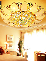Modern LED Gold Crystal Ceiling Lights Lotus Shape 50cm With Glass Leaves For Bedroom Lighting (2621)