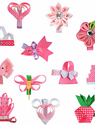 12 Pcs Animal Kanzashi Hert Grossgrain Ribbon Flower Hair Bows Pink Colot Hair Clips Hairbows Pink Headwear AC004