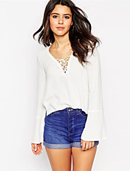 Women's Sexy Casual Party Work Ruffle  V Neck  Blouse