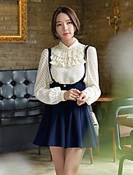 Mulheres Camisa Formal Vintage Outono,Sólido / Jacquard Bege Poliéster / Elastano Colarinho Chinês Manga Longa Média