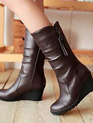 Women's Shoes Leatherette Wedge Heel Wedges / Heels / Office & Career / Casual Black / Brown / White
