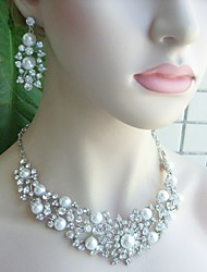 Wedding Necklace Earrings Pearl Rhinestone Necklace Earrings Wedding Bridal Jewelry Wedding Accessory Bridal Necklace
