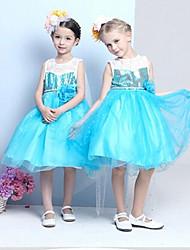A-line Knee-length Flower Girl Dress - Cotton / Tulle / Sequined / Polyester Sleeveless