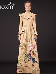 nuoxin® Women's High Collar Long Sleeve Fashion Printing Falbala High Quality Pure Silk Noble Elegant Evening Dress
