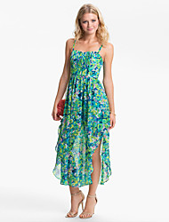 Damen Kleid  -  Rüsche Midi Chiffon