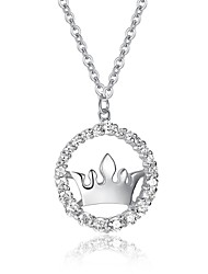 Fine Jewelry 925 Sterling Silver Cute/Party/Work Sterling Silver Pendant Necklace Sweater Chain Cz Crown necklace
