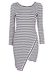 S.S.S  Women's Round Dresses , Cotton Bodycon/Casual/Party Long Sleeve