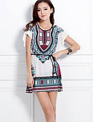 Women's Round Tops & Blouses , Lycra Print Short Sleeve qingshadieying