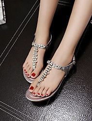 Women's Shoes Flat Heel Flip Flops Sandals Casual Silver