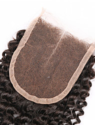 "8""-30"" Black Kinky Curly Human Hair Closure Medium Brown Swiss Lace 60g gram Cap Size"