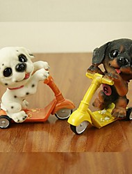 Cute Resin Motion Dog Riding On A Skateboard Scooter Home Cafe Deco (Random Color)