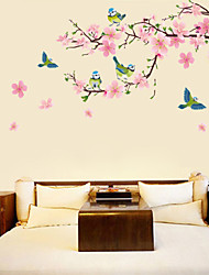 flor de pêssego e pássaros adesivos de parede