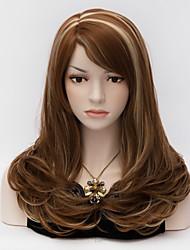 45cm Medium Long Curly  Wig Side Bang Dark Brown Glamour European Style  Wigs