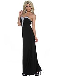 Women's Embellished Sweetheart Black Maxi Evening Dress