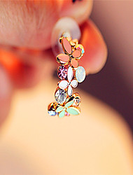 Korea Half Circle Butterfly Petals Earrings Casual Cubic Zirconia Hoop Earrings 2105 Hot Sale