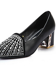 Women's Shoes Glitter Chunky Heel Heels Pumps/Heels Outdoor/Dress Black/White