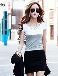 das mulheres vestido de algodão / spandex acima de manga curta joelho