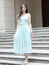Women's Party/Cocktail Dress,Solid Midi Sleeveless Green Polyester Summer