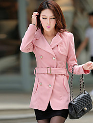 Women's Long Sleeve Tweed Trench Coat , Casual