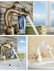 Bathroom Gold Finish Antique Brass and White Painted Dual Cross or Crystal Handle Basin Faucet