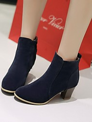 Zapatos de mujer Vellón Tacón Robusto Punta Redonda/Botas a la Moda Botas Vestido/Casual Negro/Amarillo/Rojo/Beige/Azul Marino