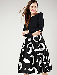 Women's Casual/Party/Work Midi Skirts , Cotton Micro-elastic