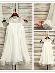 vestidos de flores niña corto / vestido joya de mini de gasa una línea